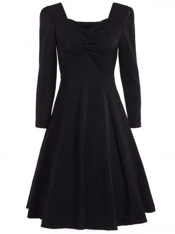 Sale Sweetheart Neck Long Sleeve Swing Flare Dress