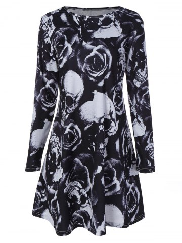Sale Skull Rose Printed Long Sleeve Dress BLACK XL