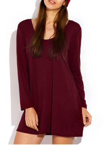 Hot Scoop Neck Long Sleeve Dress BURGUNDY XL