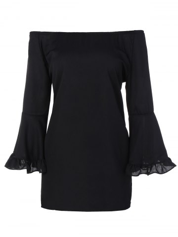 Outfits Bell Sleeve Flounce Off The Shoulder Blouse BLACK XL