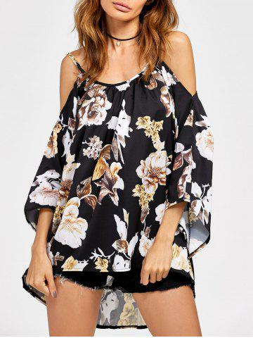 Sale Chiffon Cold Shoulder High Low Printed Blouse