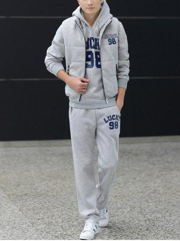 New 98 Lucky Printed Pullover Hoodie Three Piece Set