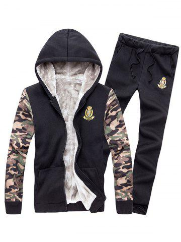 Hot Zip Up Camo Sleeve Patch Hoodie Twinset