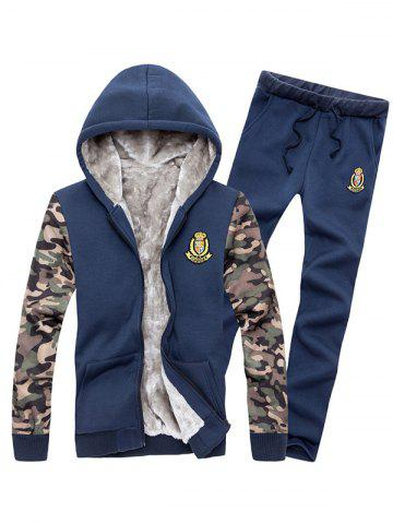 Latest Zip Up Camo Sleeve Patch Hoodie Twinset