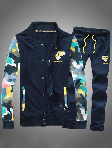 Button Up Camouflage Sleeve Jacket Twinset
