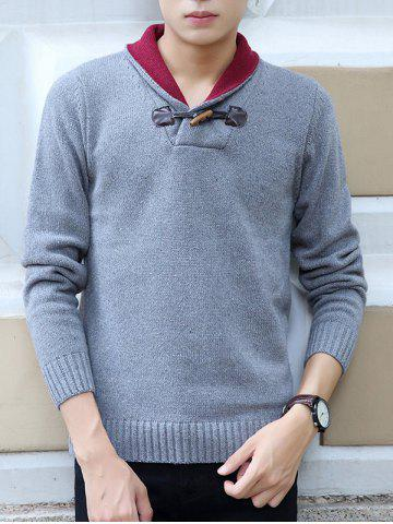 Shawl Collar Horn Button Design Long Sleeve Sweater
