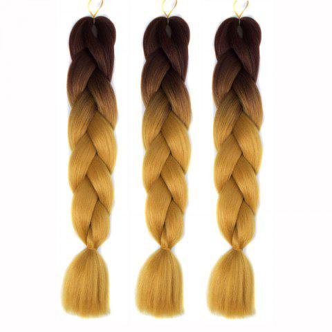 1 Pcs Heat Resistant Fiber Multicolor Ombre Braided Hair Extensions - Coffee And Yellow - 150*180cm