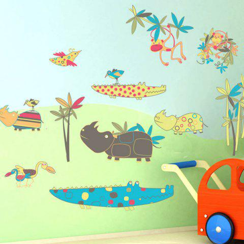 Cheap Cartoon Animals World Removeable Wall Sticker COLORMIX