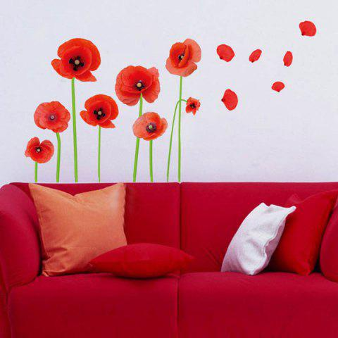 Latest Florals Removeable Vinyl Wall Sticker - RED  Mobile