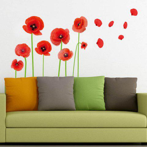 Sale Florals Removeable Vinyl Wall Sticker - RED  Mobile
