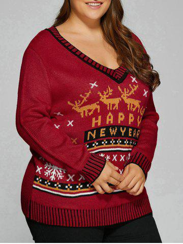 Store Christmas Elk Plus Size Graphic Sweater DEEP RED 5XL