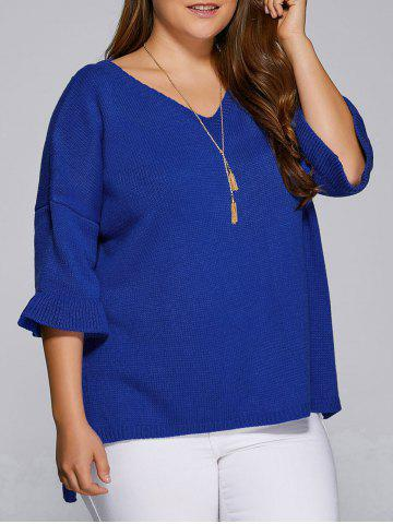 Affordable Flare Sleeves High Low Hem V Neck Sweater BLUE 5XL