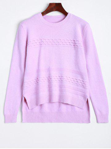 Outfit Ribbed High Low Knitted Sweater LIGHT PURPLE ONE SIZE