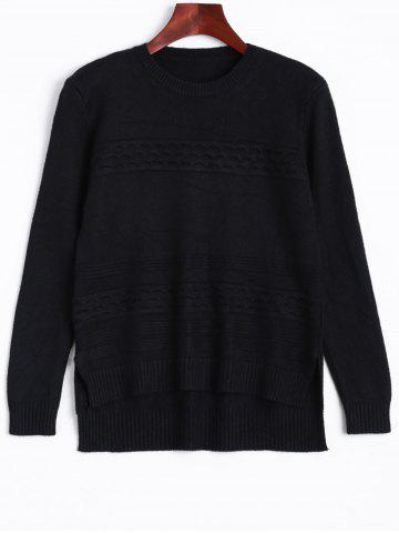 Ribbed High Low Knitted Sweater - Black - One Size