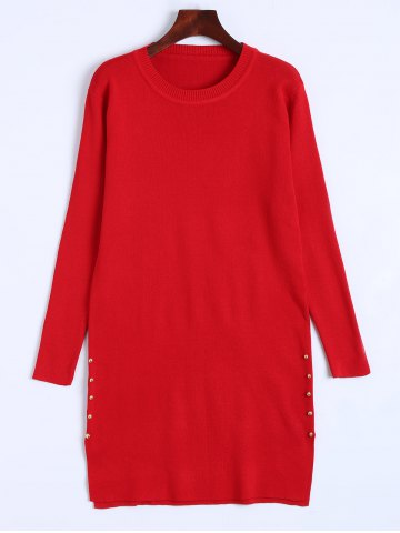 Cheap Longline  Fitted Knitted Pullover Sweater RED ONE SIZE