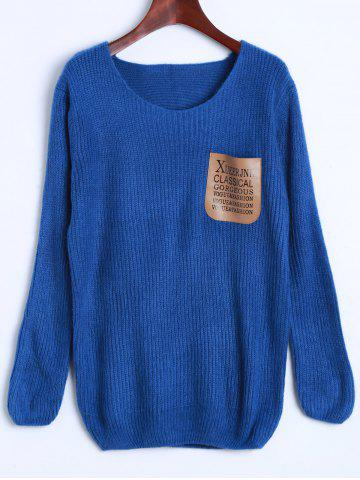 Ribbed Pocket Sweater - Deep Blue - One Size