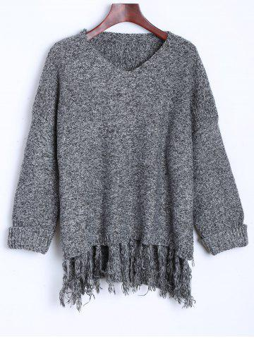 Store Tassel Drop Shoulder High Low Sweater