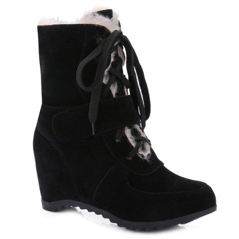 Fashion Fur-Trimmed Lace Up Mid Calf Boos BLACK 39