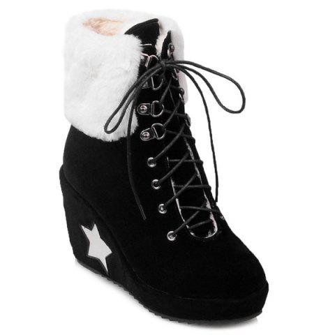 Shop Lace Up Wedge Heel Ankle Boots BLACK 39