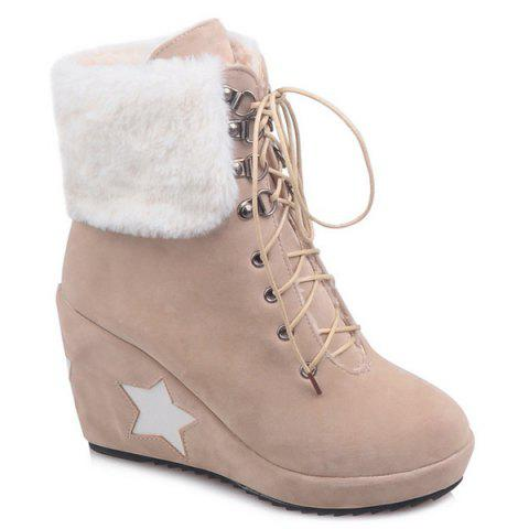 Lace Up Wedge Heel Ankle Boots - Beige - 38