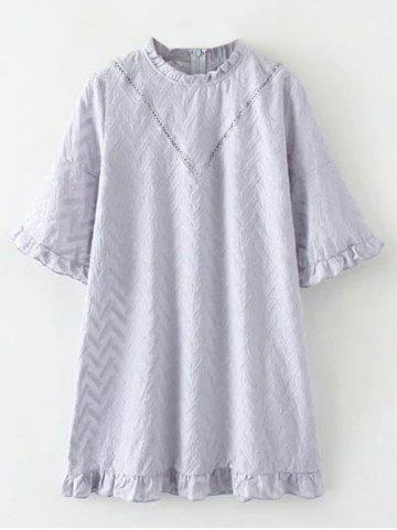 Discount Flounced Embroidered Bell Sleeve Dress