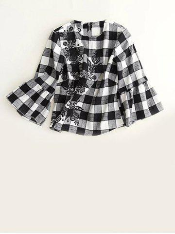 New Embroidered Plaid Bell Sleeve Blouse WHITE/BLACK L