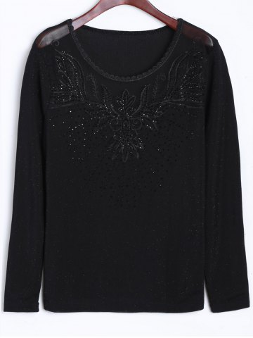 Outfits Rhinestone Embroidery Insert T-Shirt