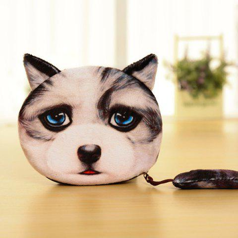 Affordable Zipper Dog Pattern Colour Block Coin Purse