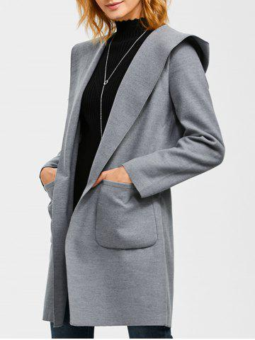 Outfit Slim Double Pockets Hooded Wrap Coat
