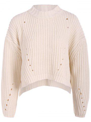 Sale Round Neck High Low Pullover Knitwear WHITE ONE SIZE