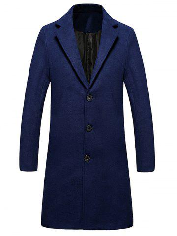 Single Breasted Lengthen Warmth Woolen Coat - DEEP BLUE - XL