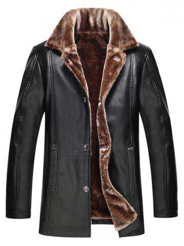 Hot Faux Fur Collar Plus Size Single Breasted Flocking PU Leather Jacket