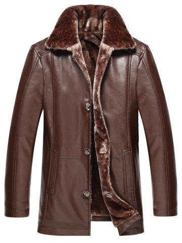 Faux Fur Collar Plus Size Single Breasted Flocking PU Leather Jacket - Deep Brown - 2xl
