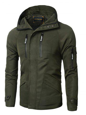 Unique Hooded Zipper Design Thicken Cotton Jacket ARMY GREEN 3XL