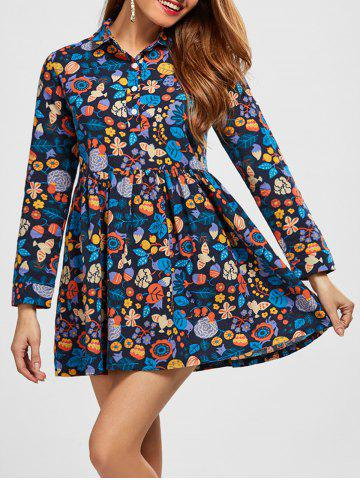 Affordable A Line Leaf Print Dress