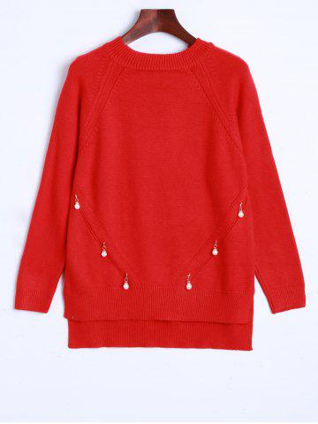 Best Faux Pearl Detailed Pullover Sweater RED ONE SIZE