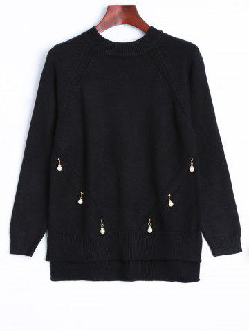 Faux Pearl Detailed Pullover Sweater - Black - One Size
