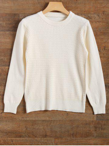 Fancy Crew Neck Wave Patter Knitted Sweater