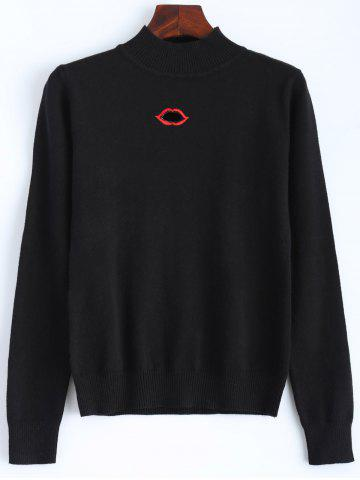 Discount Lip Mouth Embroidered Knitted Sweater