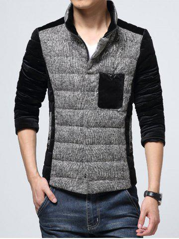 New Pocket Stand Collar Texture Insert Padded Jacket