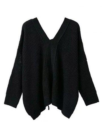 V Neck Lace Up Cut Out Sweater - Black - One Size