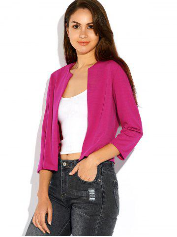 Outfit Open Front Plain Slimming Short Blazer - XL ROSE RED Mobile