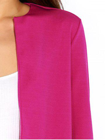 Discount Open Front Plain Slimming Short Blazer - XL ROSE RED Mobile