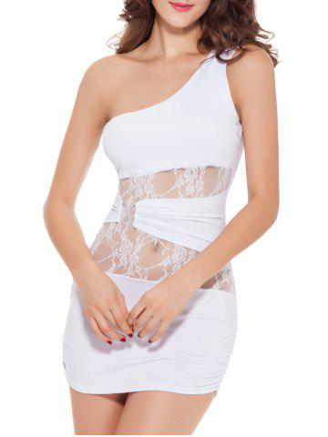 Shop One Shoulder Lace Panel Short Bodycon Dress WHITE 2XL