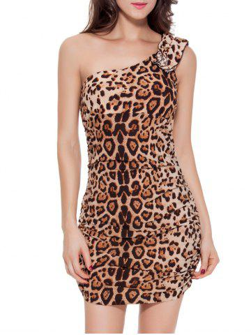 Fashion One Shoulder Leopard Short Club Bodycon Dress