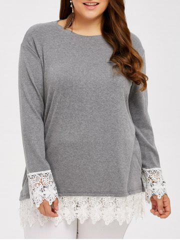 Trendy Lace Splicing Plus Size T-Shirt GRAY 5XL