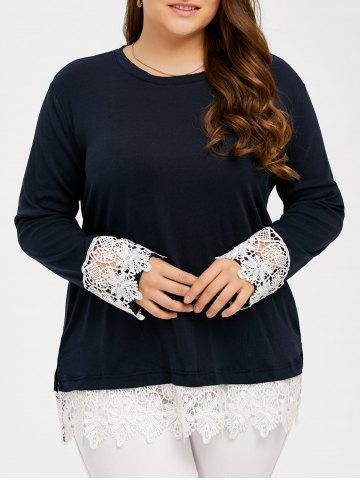 Lace Splicing Plus Size T-Shirt - Deep Blue - Xl