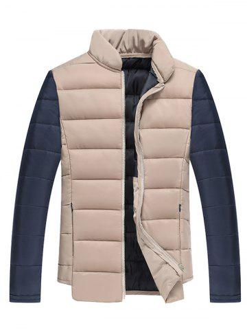 Affordable Color Block Splicing Stand Collar Zip Up Cotton Padded Jacket