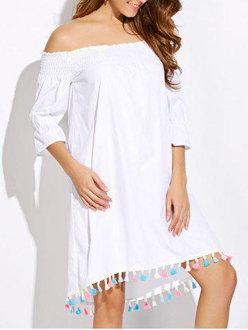 Chic Tassels Off The Shoulder Casual Dress