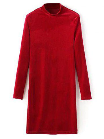Fancy High Neck Stretchy Long Sleeve Velvet Bodycon Dress RED L